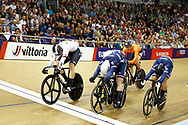 Men Keirin, Stefan Botticher (Germany), Sebastien Viger (France), Jack Carlin (Great Britain), during the Track Cycling European Championships Glasgow 2018, at Sir Chris Hoy Velodrome, in Glasgow, Great Britain, Day 6, on August 7, 2018 - Photo luca Bettini / BettiniPhoto / ProSportsImages / DPPI<br /> - Restriction / Netherlands out, Belgium out, Spain out, Italy out -