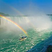 Rainbow and Maid of the Mist touris boat at Niagara Falls<br />Niagara Falls<br />Ontario<br />Canada