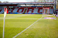 Ground shot of empty stand during the EFL Sky Bet League 2 match between Stevenage and Bradford City at the Lamex Stadium, Stevenage, England on 5 April 2021.