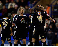 Photo: Jed Wee.<br />Tranmere Rovers v Swansea City. Coca Cola League 1.<br />26/11/2005.<br />Swansea celebrate their first goal.