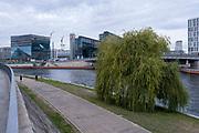 The river spree looking from Spreebogen over towards Berlin central train station Berlin Hauptbahnhof on 11th October 2019 in Berlin, Germany.