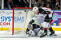 KELOWNA, CANADA - MARCH 16:  Dallas Hines #2 congratulates David Tendeck #30 of the Vancouver Giants on making the save against the Kelowna Rockets on March 16, 2019 at Prospera Place in Kelowna, British Columbia, Canada.  (Photo by Marissa Baecker/Shoot the Breeze)