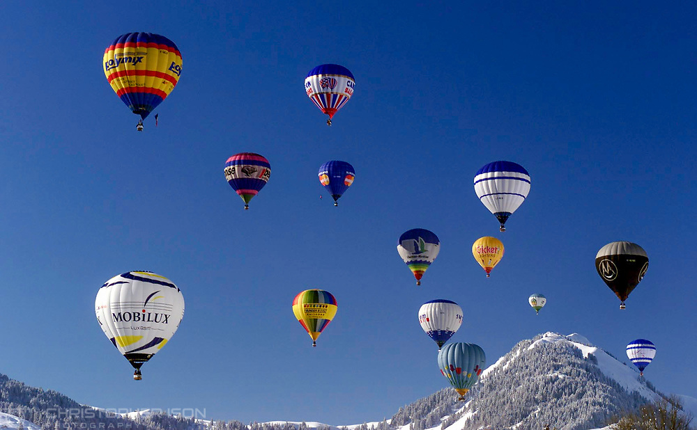 The annual Hot Air Balloon Festival, Chateau d'Oex, Switzerland.<br /> Picture date: Monday February 5, 2018.<br /> Photograph by Christopher Ison ©<br /> 07544044177<br /> chris@christopherison.com<br /> www.christopherison.com