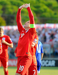 Wayne Rooney of England (Manchester United) celebrates scoring to equal Sir Bobby Charlton's goals record for England  - Mandatory byline: Joe Meredith/JMP - 07966386802 - 05/09/2015 - FOOTBALL- INTERNATIONAL - San Marino Stadium - Serravalle - San Marino v England - UEFA EURO Qualifers Group Stage