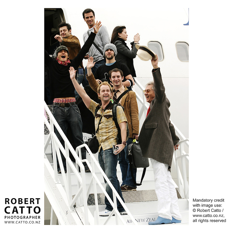 Andy Serkis;Orlando Bloom;Dominic Monaghan;Liv Tyler;Billy Boyd;Elijah Wood;Sir Ian McKellen and the cast depart Wellington after the World Premiere of The Lord Of The Rings: Return Of The King  at Wellington Airport, Wellington, New Zealand.