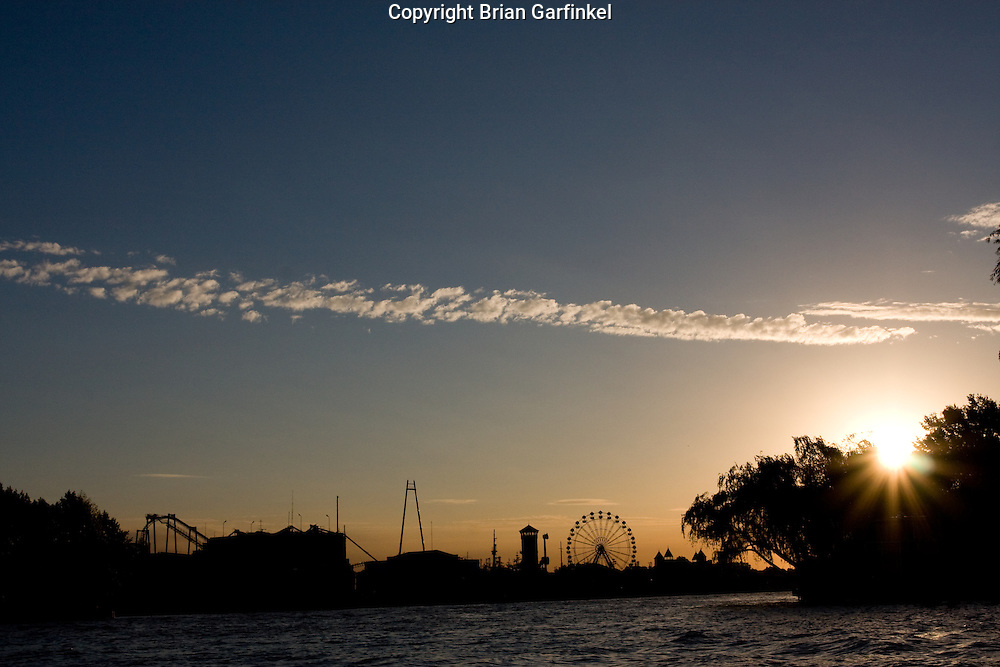 Buenos Aires, Argentina - Sunset over amusement rides in the tigre section of Buenos Aires