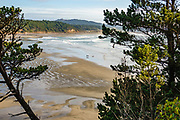 Beach view south from Devils Punchbowl State Natural Area, Otter Rock, Oregon coast, USA.