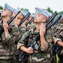 Répétitions du défilé à pied du 14 juillet 2017 « Opérationnels ensemble, pour une défense d'avance » mettant à l'honneur les militaires de l'opération Chammal et les forces armées américaines.