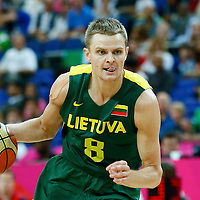 08 August 2012: Lithuania Renaldas Seibutis brings the ball upcourt during Team Russia vs Team Lithuania, during the men's basketball quarter-finals, at the 02 Arena, in London, Great Britain.