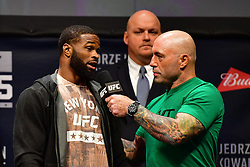 "Nov 12, 2016 - New York, New York, U.S. - Tyron ""The Chosen One"" Woodley  and Stephen ""Wonderboy"" Thompsonduring weigh-in at UFC 205 in Madison Square Garden. (Credit Image: ? Jason Silva/ZUMA Wire/ZUMAPRESS.com)"