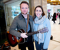 Daniel Healey and Emma Lucia ,Once the Musical  performing songs from the musical as well as traditional Irish folk tunes  centre:mk,Milton  keyens photo by Brian Jordan