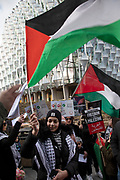Palestinian communitiy and local supporters protest organised by Stop The War agaisnt Donald Trumps deal with Israel, the so called Deal of the century outside the US Embassy at Nine Elms on 1st February 2020 in London, United Kingdom. The official plan is entitled Peace to Prosperity: A Vision to Improve the Lives of the Palestinian and Israeli People. More commonly known as the Trump peace plan, is a proposal by the Trump administration bearing the stated intention of resolving the Israeli–Palestinian conflict.