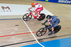 March 2, 2019 - Pruszkow, Poland - Szymon Sajnok (POL), Campbell Stewart (NZL) competes on day four of the UCI Track Cycling World Championships held in the BGZ BNP Paribas Velodrome Arena on March 02 2019 in Pruszkow, Poland. (Credit Image: © Foto Olimpik/NurPhoto via ZUMA Press)