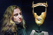 Gold cermonial Thracian mask (4th Century BC £1.4m) in the Ariadne Gallery - Frieze Masters London 2016, Regents Park, London. It covers several thousand years of art from 130 of the world's leading modern and historical galleries. The vetted artworks spanning antiquities, Asian art, ethnographic art, illuminated manuscripts, Medieval, modern and post-war, Old Masters and 19th-century, photography, sculpture and Wunderkammer.  The fair is open to the public 06-09 October.
