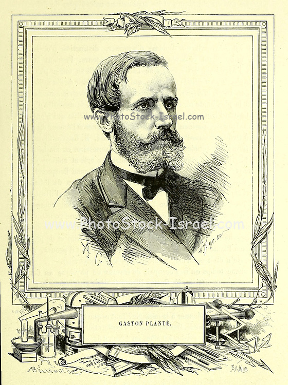 Gaston Planté (22 April 1834 – 21 May 1889) was a French physicist who invented the lead–acid battery in 1859. This type battery was developed as the first rechargeable electric battery marketed for commercial use and it is widely used in automobiles. From the Book Les merveilles de la science, ou Description populaire des inventions modernes [The Wonders of Science, or Popular Description of Modern Inventions] by Figuier, Louis, 1819-1894 Published in Paris 1867