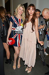Left to right, MEREDITH OSTROM and BETTY BACHZ at a private view of woks by German artist Mike Dargas held at the Opera Gallery, 134 New Bond Street, London on 5th July 2016.
