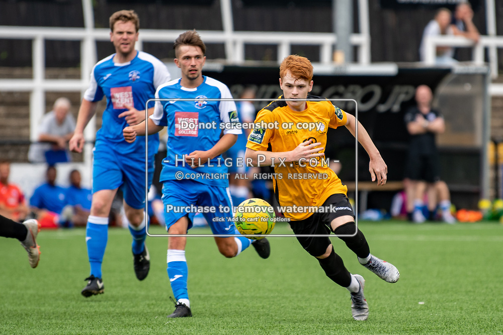 BROMLEY, UK - JULY 13: Neil Spencer, of Cray Wanderers , breaks through the midfield during the pre-season friendly match between Cray Wanderers FC and Tonbridge Angels FC at Hayes Lane on July 13, 2019 in Bromley, UK. <br /> (Photo: Jon Hilliger)