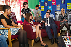 © London News Pictures. 19/09/2012. London, UK.  Deputy Prime Minister NICK CLEGG talking to young ambassadors from NSPCC at St Andrew's Youth Club in central London on September 19, 2012. The government today announced a change in the definition of domestic violence to ensure that thousands of teenage victims who are abused while in a relationship get the help and support they need. Photo credit : Ben Cawthra/LNP.