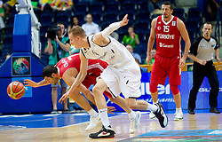 Omer Onan of Turkey vs Robin Benzing of Germany during basketball game between National basketball teams of Germany and Turkey at FIBA Europe Eurobasket Lithuania 2011, on September 9, 2011, in Siemens Arena,  Vilnius, Lithuania.  (Photo by Vid Ponikvar / Sportida)