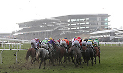 Runners take the bend in the Randox Health County Handicap Hurdle during Gold Cup Day of the 2018 Cheltenham Festival at Cheltenham Racecourse.