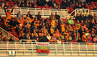 Photo: Andrew Unwin.<br /> Middlesbrough v Liteks Lovech. UEFA Cup. 15/12/2005.<br /> Liteks Lovech's away supporters proudly cheer on their team.