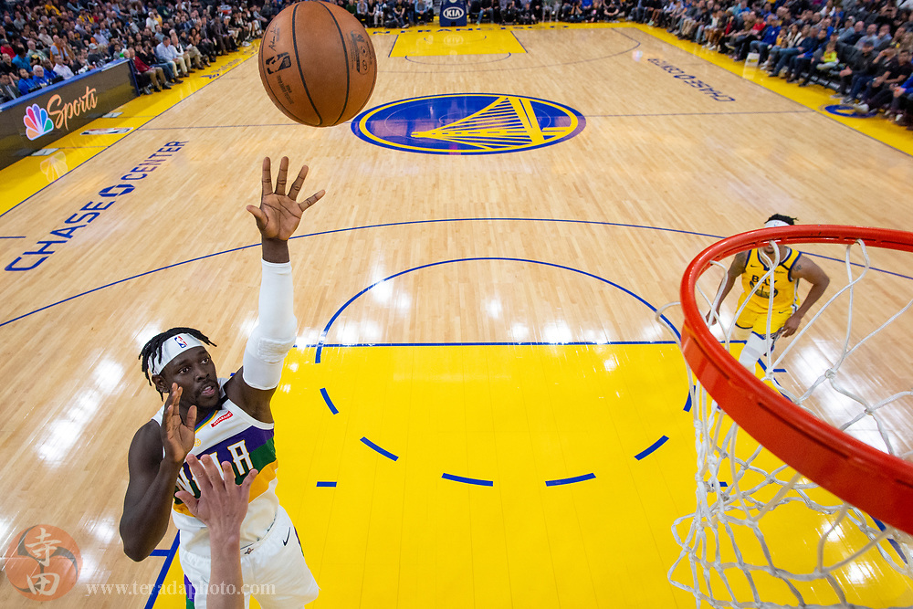 February 23, 2020; San Francisco, California, USA; New Orleans Pelicans guard Jrue Holiday (11) shoots the basketball during the second half against the Golden State Warriors at Chase Center.