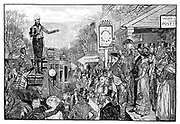 Andrew Jackson (1767-1845), 7th president of the USA, as President-elect, delivering a speech from the driver's seat of his coach on his triumphal journey to Washington, 1828. Engraving  from 'Harper's Weekly', 1881.