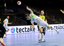Jure Dolenec of Slovenia during handball match between National Teams of Sweden and Slovenia at Day 3 of IHF Men's Tokyo Olympic  Qualification tournament, on March 14, 2021 in Max-Schmeling-Halle, Berlin, Germany. Photo by Vid Ponikvar / Sportida