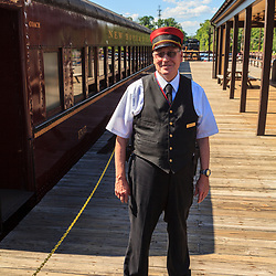 New Hope, PA, USA - June 23, 2012: New Hope and Ivyland Rail Road train conductor.
