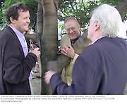 David Hare, Humphrey Burton and John Boorman. Faber & Faber summer party. Sq. London. <br />© Copyright Photograph by Dafydd Jones 66 Stockwell Park Rd. London SW9 0DA Tel 020 7733 0108 www.dafjones.com