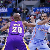 06 April 2014: Los Angeles Clippers guard Chris Paul (3) passes the ball over Los Angeles Lakers guard Jodie Meeks (20) during the Los Angeles Clippers 120-97 victory over the Los Angeles Lakers at the Staples Center, Los Angeles, California, USA.