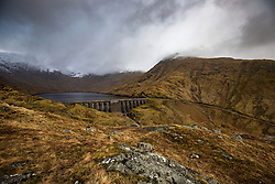 View from the Cruachan Dam and Reservoir to Loch Awe, in Argyll and Bute, Scotland.