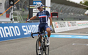 Arrival winner Julian Alaphilippe of France during the 2020 UCI World Road Championships, Men Elite Road Race, on September 27, 2020 at Autodromo Enzo and Dino Ferrari in Imola, Italy - Photo Laurent Lairys / ProSportsImages / DPPI