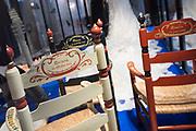 Perspreview 50 jaar Koninklijk Paleis Amsterdam.<br /> <br /> Op de foto:   De kinderstoeltjes van prinses Amalia, Alexia en Ariane