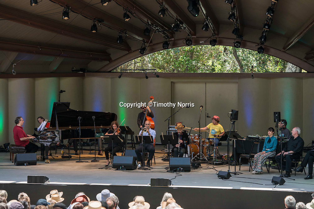 """The Uri Caine Ensemble performs """"Canonade"""" a melange of musical canons devised by Jeremy Denk with music by Josquin,  Mozart, Schumann, Kurtág, P.D.Q. Bach, Isham, Purcell, Stanchinsky, Beethoven, Haydn, Uri Caine and J.S. Bach at the 68th Ojai Music Festival at Libbey Bowl on June 15, 2014 in Ojai, California."""