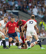 Twickenham, England. grounded, Geoff PARLING, hangs on to French, Prop, Vincent DEBATY, as he tries to force himself to the try line, during the QBE International. England vs France [World cup warm up match]  Saturday.  15.08.2015,  [Mandatory Credit. Peter SPURRIER/Intersport Images].