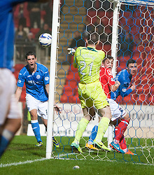 Ross County's keeper Mark Brown saves of the post.<br /> St Johnstone 2 v 1 Ross County, Scottish Premiership 22/11/2014 at St Johnstone's home ground, McDiarmid Park.