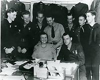 """1943 Anne """"Mom"""" Lehr and soldiers at the Hollywood Guild & Canteen"""
