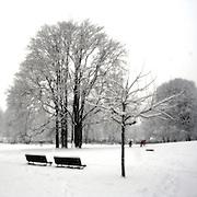 Public garden under the snow in Milan