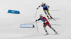 February 17, 2018 - Pyeongchang, South Korea - Marit BJOERGEN of Norway races to the finish with Sweden's Stina NILSSON hot on her tail in action during the Ladies' 4 x 5km Relay at the Alpensia Cross-Country Center during the 2018 Pyeongchang Winter Olympic Games. (Credit Image: © Daniel A. Anderson via ZUMA Wire)