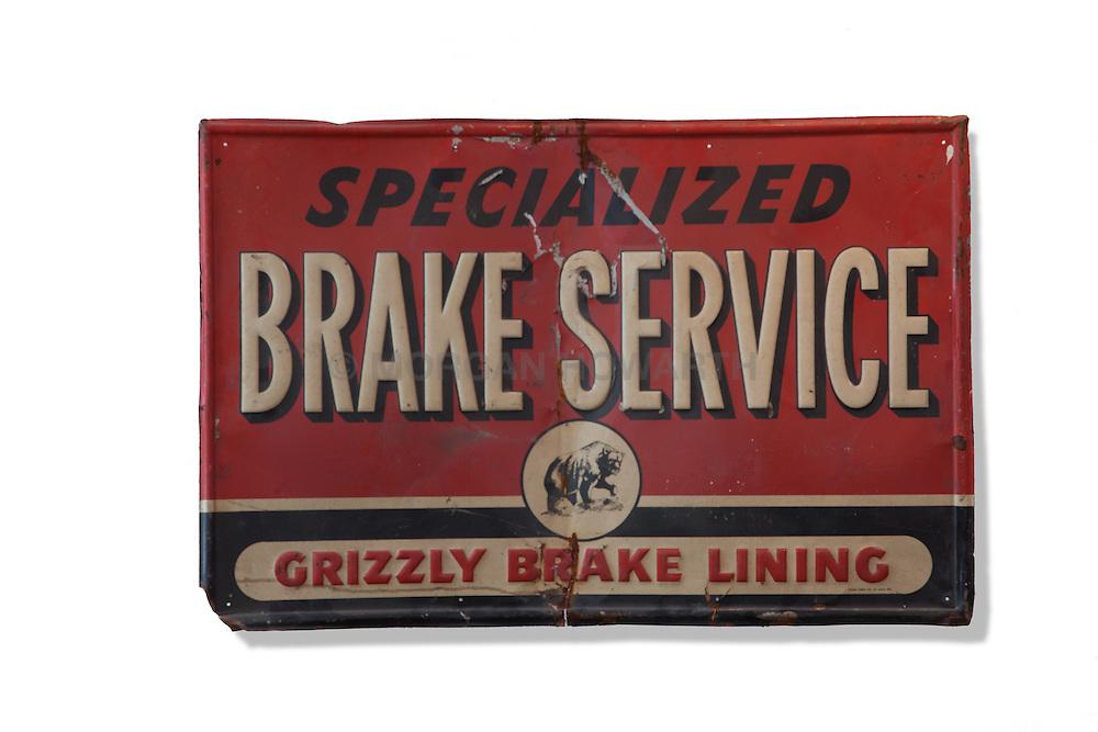 Antique brake service sign