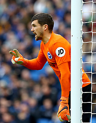 """Brighton & Hove Albion goalkeeper Mathew Ryan during the Premier League match at the AMEX Stadium, Brighton. PRESS ASSOCIATION Photo. Picture date: Saturday March 31, 2018. See PA story SOCCER Brighton. Photo credit should read: Gareth Fuller/PA Wire. RESTRICTIONS: EDITORIAL USE ONLY No use with unauthorised audio, video, data, fixture lists, club/league logos or """"live"""" services. Online in-match use limited to 75 images, no video emulation. No use in betting, games or single club/league/player publications."""