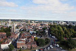 Norwich cityscape from the tower of The Cathedral of St John the Baptist. UK September 2019
