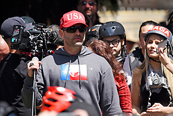 April 27, 2017 - Berkeley, California, U.S - KYLE CHAPMAN, also known as ''Based Stickman,'' serves as the MC during a rally of Trump and alt-right supporters in Berkeley's Civic Center Park.  (Credit Image: © Jeremy Breningstall via ZUMA Wire)