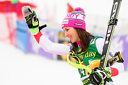 January 7, 2018 - Kranjska Gora, Gorenjska, Slovenia - Wendy Holdener of Switzerland on podium celebrating her second place in Golden Fox Trophy at the Slalom race at the 54th Golden Fox FIS World Cup in Kranjska Gora, Slovenia on January 7, 2018. (Credit Image: © Rok Rakun/Pacific Press via ZUMA Wire)