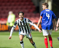 Dunfermline's Faissal El Bahktaoui celebrates after scoring their first goal. <br /> Dunfermline 7 v 1 Cowdenbeath, SPFL Ladbrokes League Division One game played 15/8/2015 at East End Park.