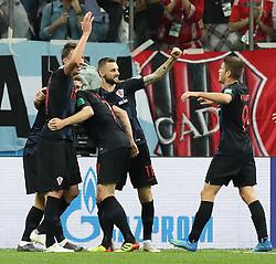 NIZHNY NOVGOROD, June 21, 2018  Players of Croatia celebrate Ivan Rakitic's goal during the 2018 FIFA World Cup Group D match between Argentina and Croatia in Nizhny Novgorod, Russia, June 21, 2018. Croatia won 3-0. (Credit Image: © Yang Lei/Xinhua via ZUMA Wire)