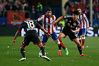 Atletico de Madrid´s Raul Garcia and Bayer 04 Leverkusen´s Son Heung-Min during the UEFA Champions League round of 16 second leg match between Atletico de Madrid and Bayer 04 Leverkusen at Vicente Calderon stadium in Madrid, Spain. March 17, 2015. (ALTERPHOTOS/Victor Blanco)