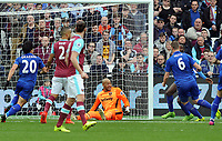 Football - 2016 / 2017 Premier League - West Ham United vs. Leicester city<br /> <br /> Robert Huth of Leicester (6) scores his goal past Darren Randolph of West Ham at The London Stadium.<br /> <br /> COLORSPORT/ANDREW COWIE