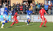 Liam Hughes (M) in control of the ball during the Northern Premier League match between Matlock FC and Ashton United at the Proctor Cars Stadium on October 10th, 2020 in Matlock, Derbyshire. Local fans welcomed to watch the match maintaining Government's Covid-19 guidelines. (VXP Photo/ Shaun Hardwick)